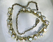 50s Choker Necklace Vintage Jewelry Rhinestones Mother of Pearl