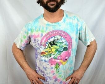 Vintage 1990 Grateful Dead Band Rock Tour Tie Dye Tee Shirt Tshirt - Liquid Blue