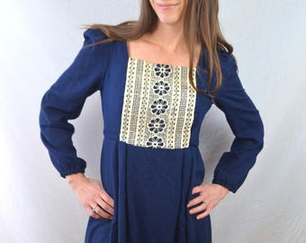 Vintage 70s 1970s Rare Dolls Maxi Dress