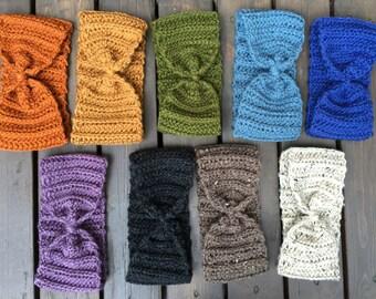 Crochet Bow Turban Headband / TRUE NORTH /