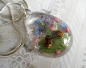 Best Friends-2 Ladybugs,Sky Blue Forget-Me-Nots,Veronica,Heather,Ferns Encased In Glass Teardrop Pressed Flower Pendant-Symbolizes True Love