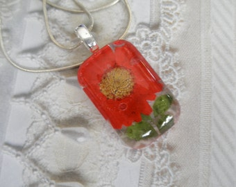 Vivid Red Daisy, Maidenhair Ferns Glass Rectangle Pressed Flower Pendant-April's Birth Flower-Nature's Wearable Art-Symbolizes Loyal Love