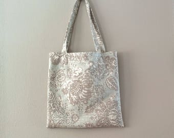 Large floral linen cotton tote and pouch pale blue gray