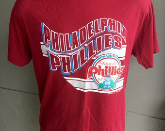 Philadelphia Phillies 1990 vintage baseball tee shirt - maroon size large