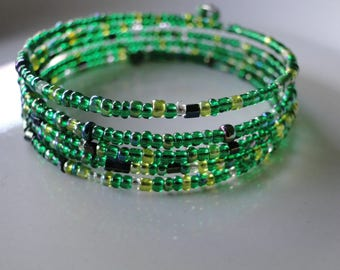 Green beaded coil wrap bracelet, memory wire