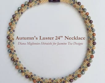 Autumn's Luster Beaded Kumihimo Opaque Necklace, 24 Inch Necklace, Five Color Luster Opaque Beaded Kumihimo Necklace