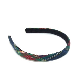 Narrow  Navy Tartan Plaid Headband - Traditional Colors  - Preppy Adult Headband, Preppy Girls Headband - School Uniform Plaid Headband