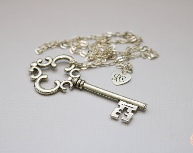 Large Filigree Silver Key Necklace in Silver.