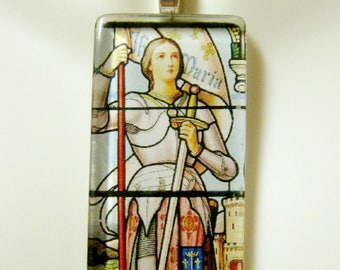 Saint Joan of Arc stained glass window pendant with chain - GP01 - 251