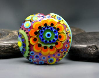 70ies Hipp - 2 side lampwork bead - Modern Glass Art by Michou P. Anderson (Brand/ Label Sonic & Yoko)