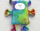 Jelly Bean Bear Plush - Organic Procion Dyed Bamboo Velour - Super Soft - Hand Drawn Face - My Original Design - OOAK - Rainbow Bear
