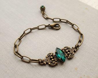 Emerald Teal Green Navette Bracelet in Antique Brass