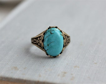 Turquoise Ring. Antique Silver or Antique Brass