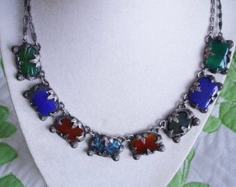 Blue Green Topaz Carved Stones Multi Color Necklace Silver Tone.
