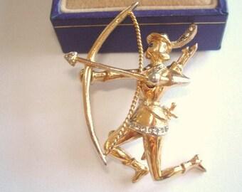 Signed Coro  Adolph Katz  Robin Hood  Archer Rhinestone  Brooch Gold  Tone