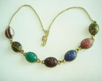 Scarab Glass Stones Gold  Tone Necklace