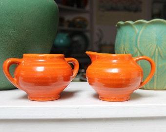 Bauer Pottery Ring Ware Midget Creamer Sugar set in Orange California VINTAGE by Plantdreaming