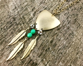 Gold Feather Necklace, Triangle Necklace, Tassel Necklace, Boho Jewelry, Rhinestone Necklace, Statement Necklace