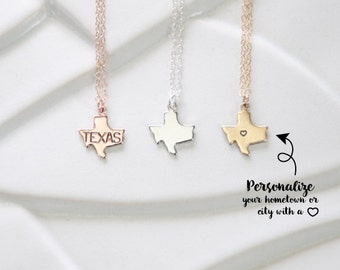 Texas State, Small Texas Charm in Rose Gold, Texas Pendant Necklace or State Bracelet, Sterling Silver Bracelet, A&M, Austin, Dallas