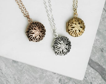 Small Personalized Locket, Gold Monogram Necklace, Tiny Personalized Necklace with Initial, Pendant Filagree Stamped Necklace