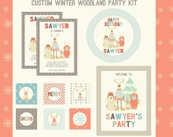 Christmas Party Kit, Reindeer, Winter woodland animals, Holiday Invitations and Printable custom party decorations