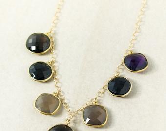 Gold Black Onyx & Grey Chalcedony Bib Necklace - Multi Gemstone Necklace - Gold Filled