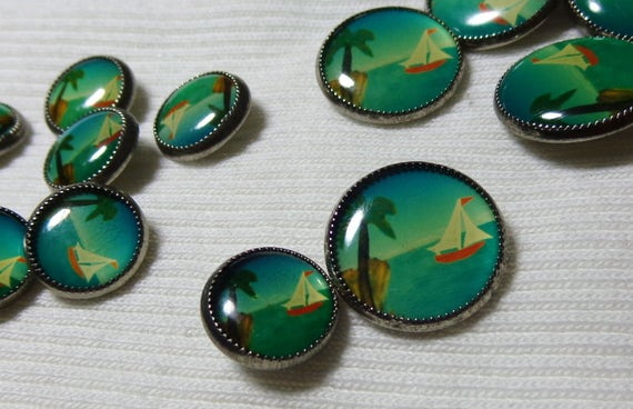 Set of 4 vintage round shank button sailboat ocean island for Buttons with shanks for jewelry