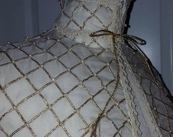 Silk Organza, Under-Partlet, Renaissance, Elizabethan Costume, 90% Hand-stitched- MADE TO ORDER
