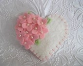 Pink Valentine Ornament Felt Flower Heart Primitive