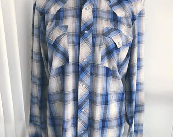 Vintage Western Shirt in Blue Plaid with Pearl Snap Buttons -- Guys or Gals