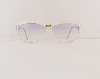 80's Charby Brand Cat Eye Sunglasses Frames Women's Vintage 1980's Clear with White & Silver Pattern Frames #M737 DIVINE