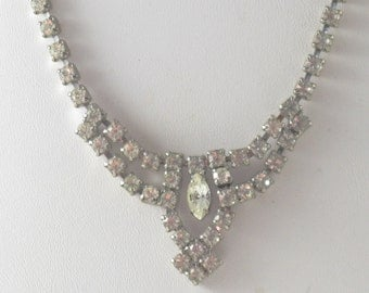 Vintage Silver Tone Clear Rhinestone Choker Necklace (N-4-2)