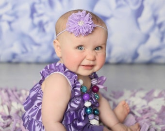 Baby Headband, Lavender Lace Headband, Vintage Baby Headband, Easter Headband, Easter Outfit, Spring Baby Bow, Baby Shower Gift