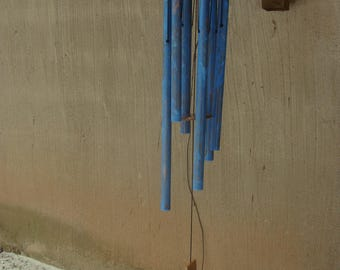 "Powder blue 3/4"" copper wind chime with walnut"