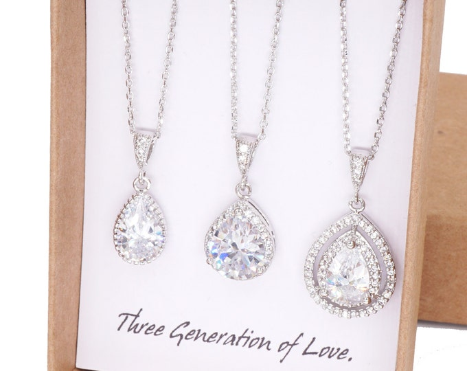 Set of Three Necklace / Silver Deluxe Luxe Cubic Zirconia Teardrop Necklace, three generation grandmother mother daughter jewelry set