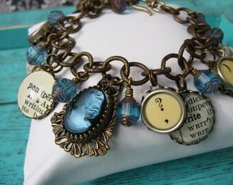 Antique Typewriter Key Charm Bracelet Blue Cameo Writer Inspired B420