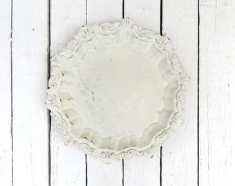 White Tray, Round Silver Tray, Vintage Platter, Ornate Tray, Holloware, Serving Piece, Silver Plate Old Tray, Footed Tray, Painted Tray