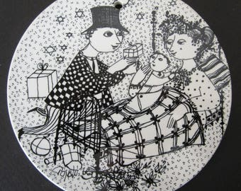 BJORN WIINBLAD DENMARK Mid Century Modern Nymolle Porcelain Trivet December Tile Wall Plaque