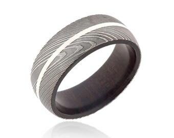 Mens Damascus Wedding Ring Damascus Steel Wedding Bands Custom Ebony Wood Sleeve USA Made