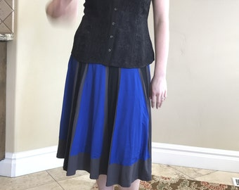 Panel Blue Black and Gray A line silk jersey skirt