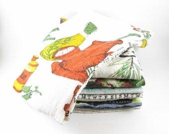 Six Linen Calendar Dish Tea Towels Vintage 1974-79 Kitchen