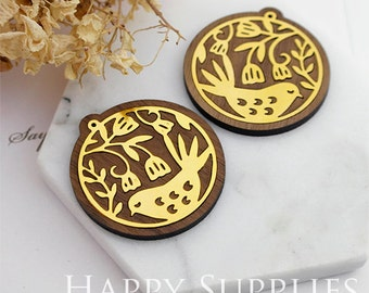 Limited Edition - 1pcs Handmade 24K Gloden Brass Wooden Charm / Pendant, Perfect for Earring Necklace (LES39)