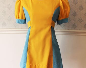 Vintage 1970s Bright Yellow and Sky Blue Short Sleeve Dress or Uniform