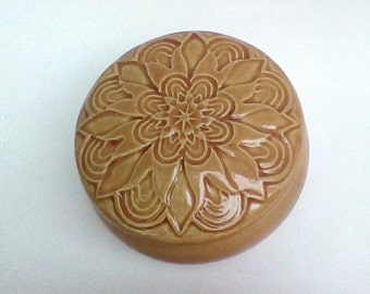 Lidded  Jar Ceramic Jewelry Box Peach Apricot  floral design Hand Carved Stoneware  Pottery