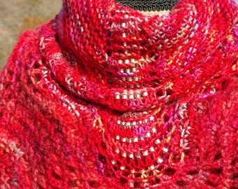 Crystal Bridges Shetland lace shawlette scarf. Eve Starr knits original design!  Red, silver lined beads  silk merino all season  washable!