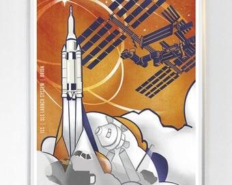 11 x 14 - International Space Station - Orion , Science Poster Art Print  - Stellar Science Series™ - Wall Art