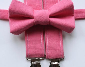 Little and Big Guy Bow tie and Suspender SET -Solid Pink -(Newborn-Adult)- Spring Easter Wedding