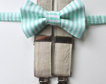 LANDOCOLORS Sale 3/30- Little and Big Guy Bow tie and Suspender SET -Mint Stripe and Tan Suspenders -(Newborn-Adult)