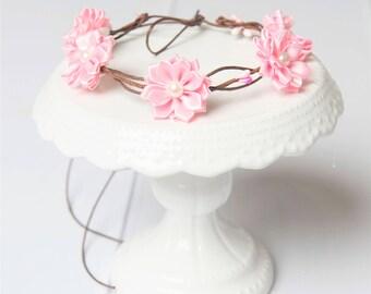 Light pink flower crown, bridal headpiece vintage, blush flower crown, boho wedding headpiece, bohemian headpiece, bohemian flower crown