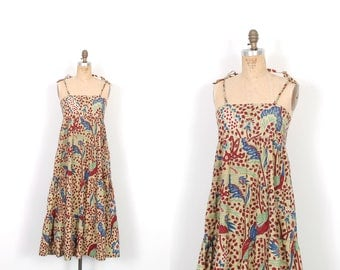 Vintage 1970s Dress / 70s Batik Floral Printed Tent Sundress / Yellow and Red ( S M )